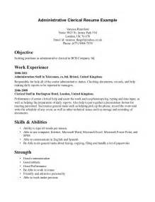 administrative assistant resume sles resume clerical sales clerical lewesmr