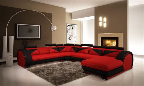 Micro Homes Interior by Red Microfiber Sectionals Highlight Your Living Room