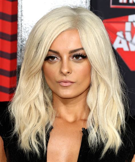 Bebe Rexha Long Wavy Casual Hairstyle   Light Blonde