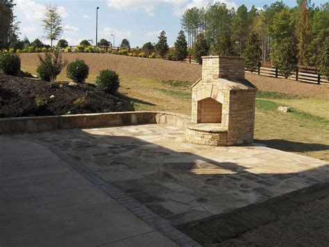 crab orchard flagstone patio chimney luxury landscaping
