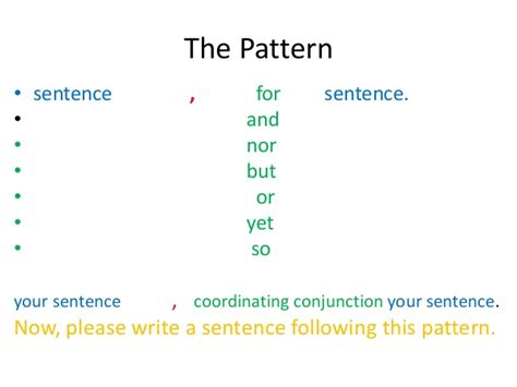 writing pattern sentences compound sentences with coordinating conjunctions