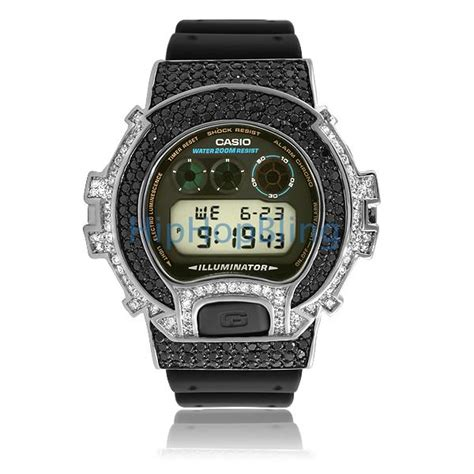 custom casio g shock black white cz combo