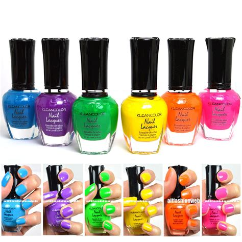 klean color kleancolor nail neon colors lot of 6 lacquer neon