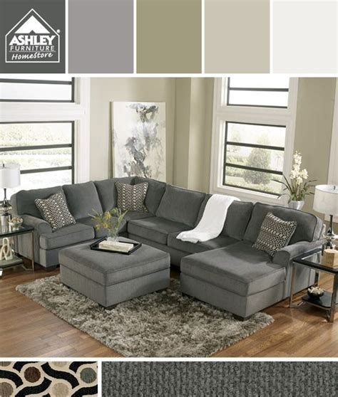 ashley furniture grey sectional gray earth tones i m getting this for my family room