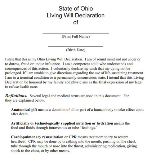 ohio living will template living will template 8 free documents in pdf