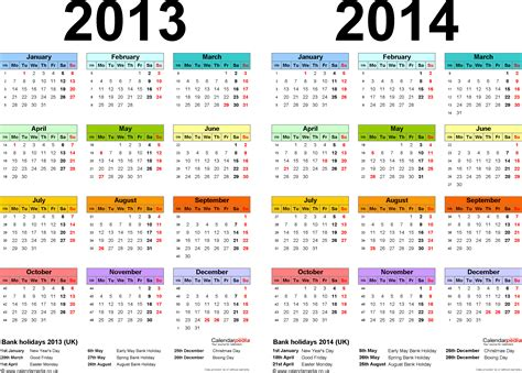 two year calendars for 2013 2014 uk for excel