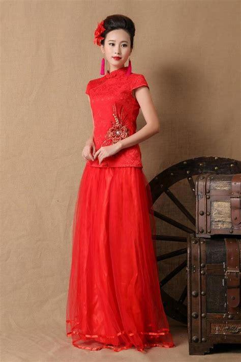 Cheongsam Murah Merah Bunga Al036 baju cheongsam wanita modern import murah model terbaru