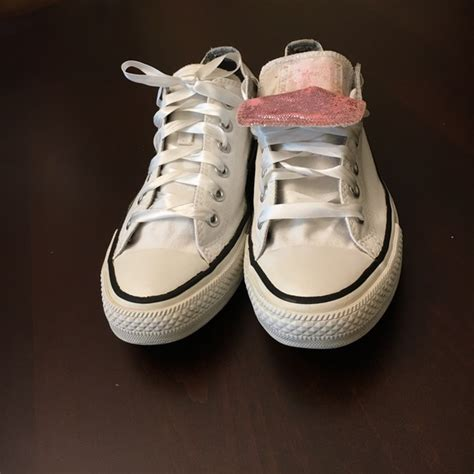 43 converse shoes white converse pink tongue ribbon laces from s closet on poshmark
