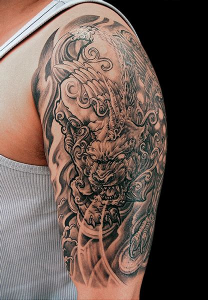 tattoo black and grey oriental pixiu tattoo half sleeve chronic ink tattoos black and
