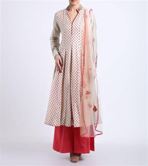 Dress Modis Nikky Style ivory printed cotton kurta with palazzos dupatta anju modi 576 288 fashion