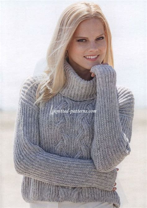 cable knit turtleneck sweater pattern free women s pullovers knitting patterns knit make do