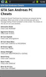 gta san andreas new cars cheats pc gta san andreas cheats free for android appszoom