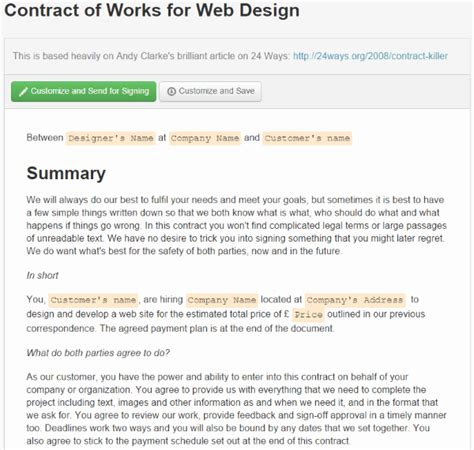 Basic Website Contracts Contract Templates Simple Web Design Contract Template