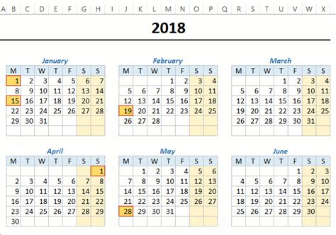 monthly yearly excel calendar template