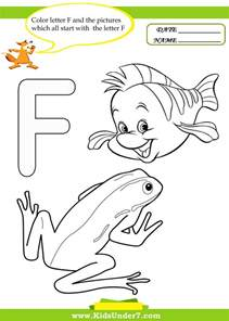 f color 7 letter f worksheets and coloring pages