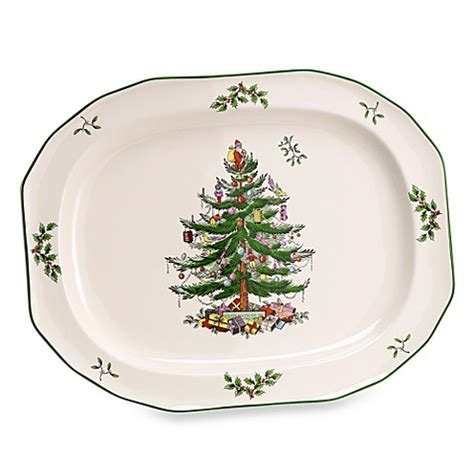 spode 174 christmas tree 14 inch sculpted oval platter bed