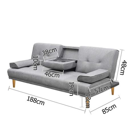 holder for bed or sofa 3 seat sofa bed lounge w 2 cup holders in grey buy sale