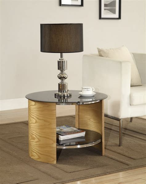 Jual Bedside Table by Jual San Marino Oak Black Glass Curved Wood L