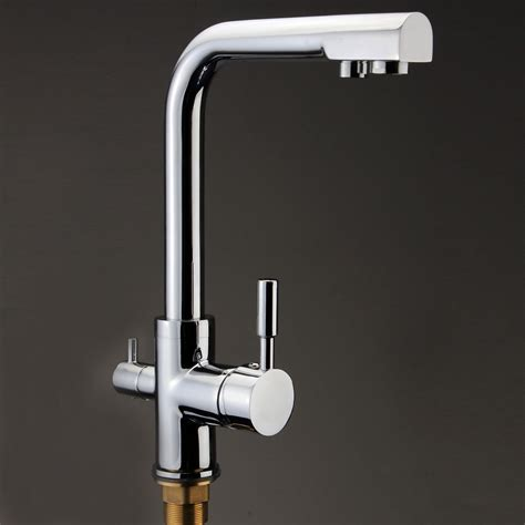 Kitchen Water Filter Faucet 3 Way Dual Handles Kitchen Sink Faucet Water Filter Mixer Tap Chrome Brass Ebay
