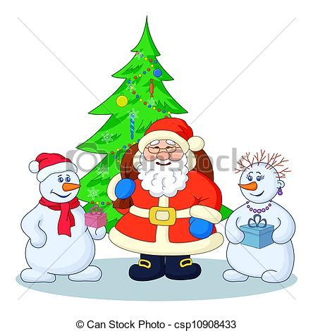 drawings of santa claus christmas tree and snowmans