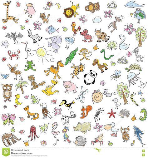 doodle animals vector free children s drawings of doodle animals vector stock vector
