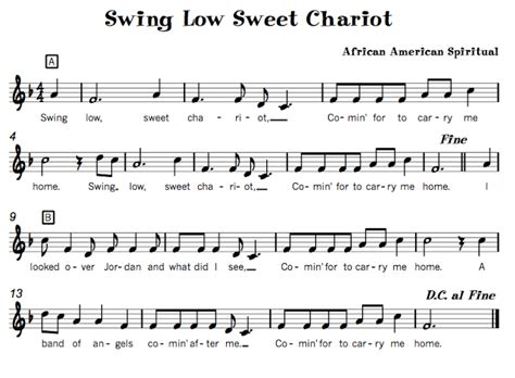 swing low sweet chariot song pentatonic songs beth s notes