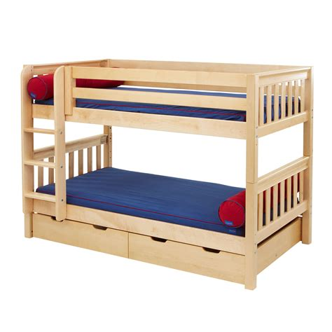 low bunk beds maxtrix kids low slat bunk bed with ladder atg stores