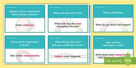 ideas for ks2 science investigations scientific investigation question prompt cards scientific