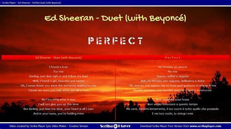 ed sheeran perfect italiano ed sheeran ft beyonc 233 perfect duet traduzione italiano