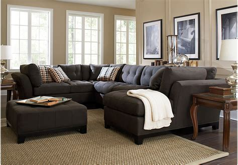 living room sectional cindy crawford metropolis slate 4pc sectional living room