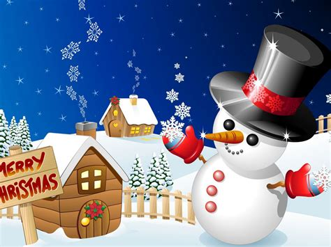 merry christmas winter snow wood houses  snowman desktop hd wallpaper  mobile phones