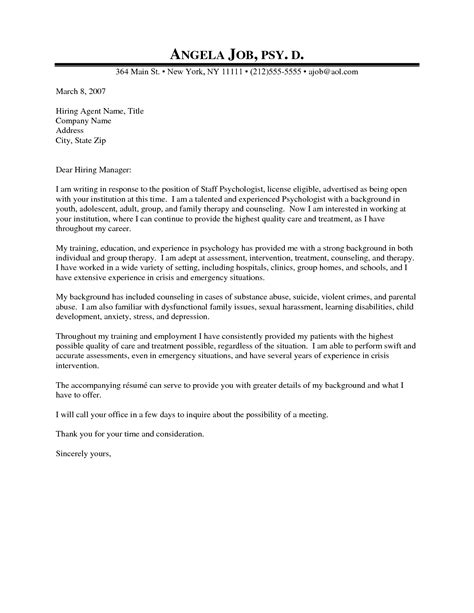 professional counseling cover letter psychologist cover