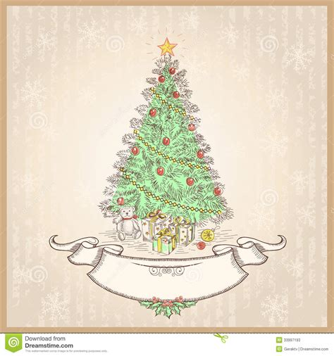 imagenes retro de navidad vintage christmas tree vector illustration with ol stock