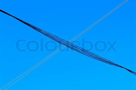 electrical conductors electrical conductors on sky background stock photo colourbox