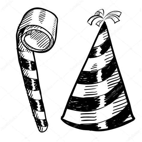 New Years eve party hat and noisemaker sketch ? Stock