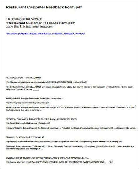 7 Customer Feedback Form Sles Free Sle Exle Format Download Restaurant Customer Feedback Form Template