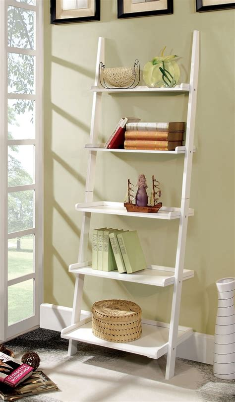 sion white 5 tier ladder shelf solid wood contemporary style