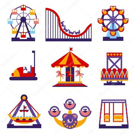 theme park vector amusement park icons set stock vector 169 topvectors 86720246