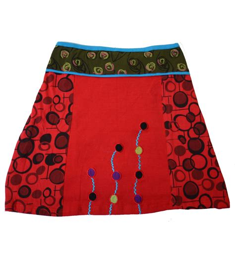 colourful patchwork hippie mini skirt with precipitated