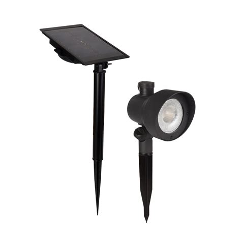 solar flood lights lowes shop portfolio black solar led landscape flood light at