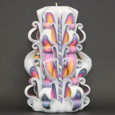 big white rainbow carved candle decorative candles wall