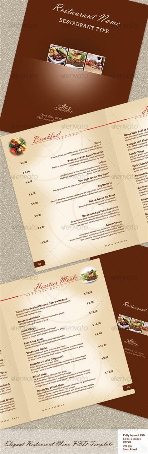 elegant restaurant menu psd template by kinzi21 graphicriver