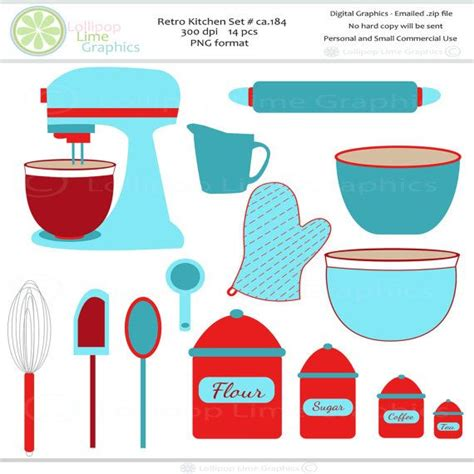 Retro Clipart Baking Kitchen Mixer Rolling by