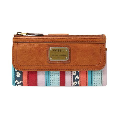Fossil Patchwork Wallet - fossil emory leather patchwork clutch wallet in multicolor