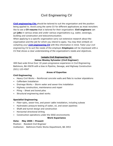 Resume Sle In Civil Engineering Civil Engineer Resumes Ideas Civil Engineering Resumes