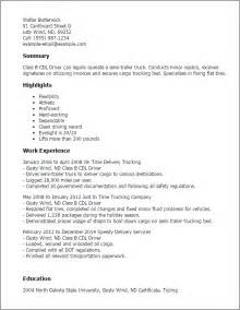Cdl Class B Driver Cover Letter by Truck Driver Resume Exle Resume Format Pdf