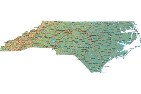 nc map detailed carolina map nc terrain map