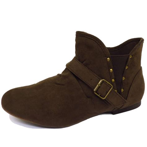 flat brown pull on pixie biker ankle slouch ruched