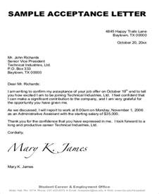Offer Letter Guidelines Sle Formal Acceptance Letters 8 Exles In Word Pdf