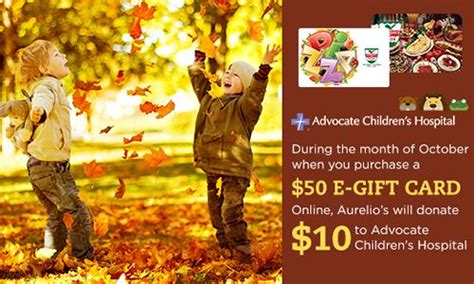 Purchase E Gift Cards Online - help aurelio s pizza support advocate children s hospital this october when you